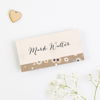 Floral Kraft, Peach And Cornflower Blue Place Card