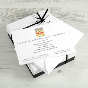 Illustrated Change Of Address Cards With Gift Box - new home cards