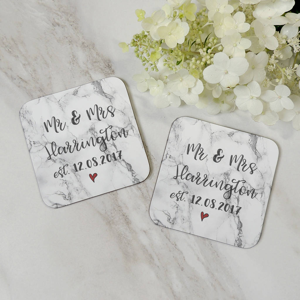 Personalised Marble Effect Mr And Mrs Coaster Set