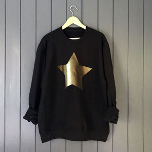 Metallic Gold Star Slouchy Custom Sweatshirt - christmas jumpers