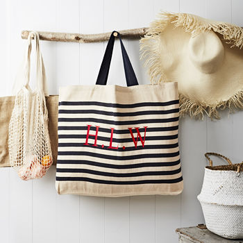 Monogrammed Navy Stripe Nautical Beach Bag