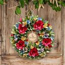 Personalised Autumn Blooms Floral Wreath
