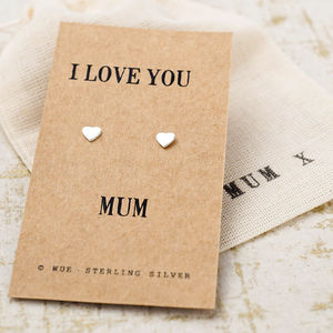 Love You Mum Silver Earrings - earrings
