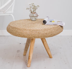 Round Wooden Side Table With Wicker - furniture