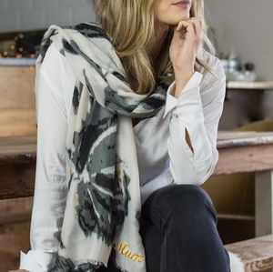 Monogrammed Water Colour, Gold Detail Scarf - christmas with free uk delivery