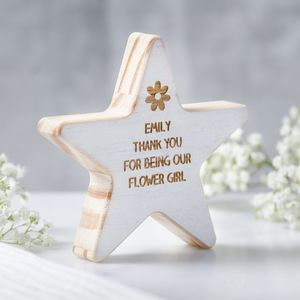 Personalised Flower Girl Wooden Star Keepsake - decorative accessories