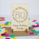 Wooden 80th Birthday Card