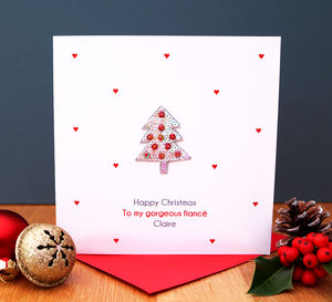 Personalised Red Christmas Tree Card