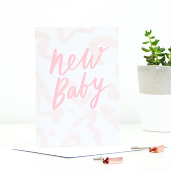 'New Baby' Blush Greetings Card