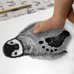 Personalised Baby Penguin Footprint Kit - children's room