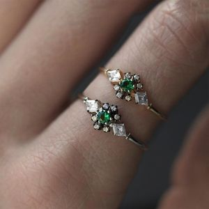 Green Quartz Cluster Vintage Style Ring