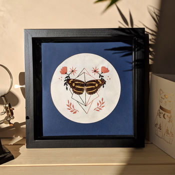 Framed Common Jester Butterfly On Embroidery
