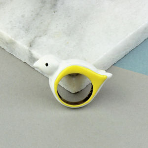 Enamelled White Brass Bird Ring - baby & child sale