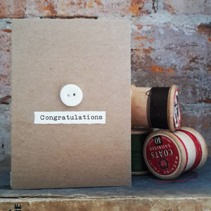 'Congratulations' Porcelain Button Card