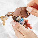Personalised Metal Photo Keyring With Leather Case