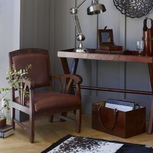Low Slung Leather Study Chair - armchairs