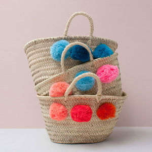 Mini Mixed Pom Pom Market Basket - storage baskets