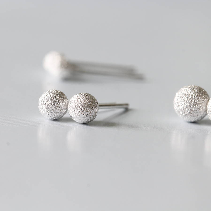 Sterling Silver Textured Ball Earrings Studs By Attic