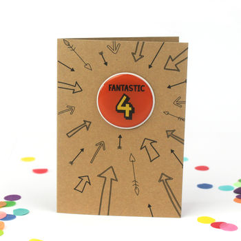 Fantastic Four: 4th Birthday Sticker Badge Card