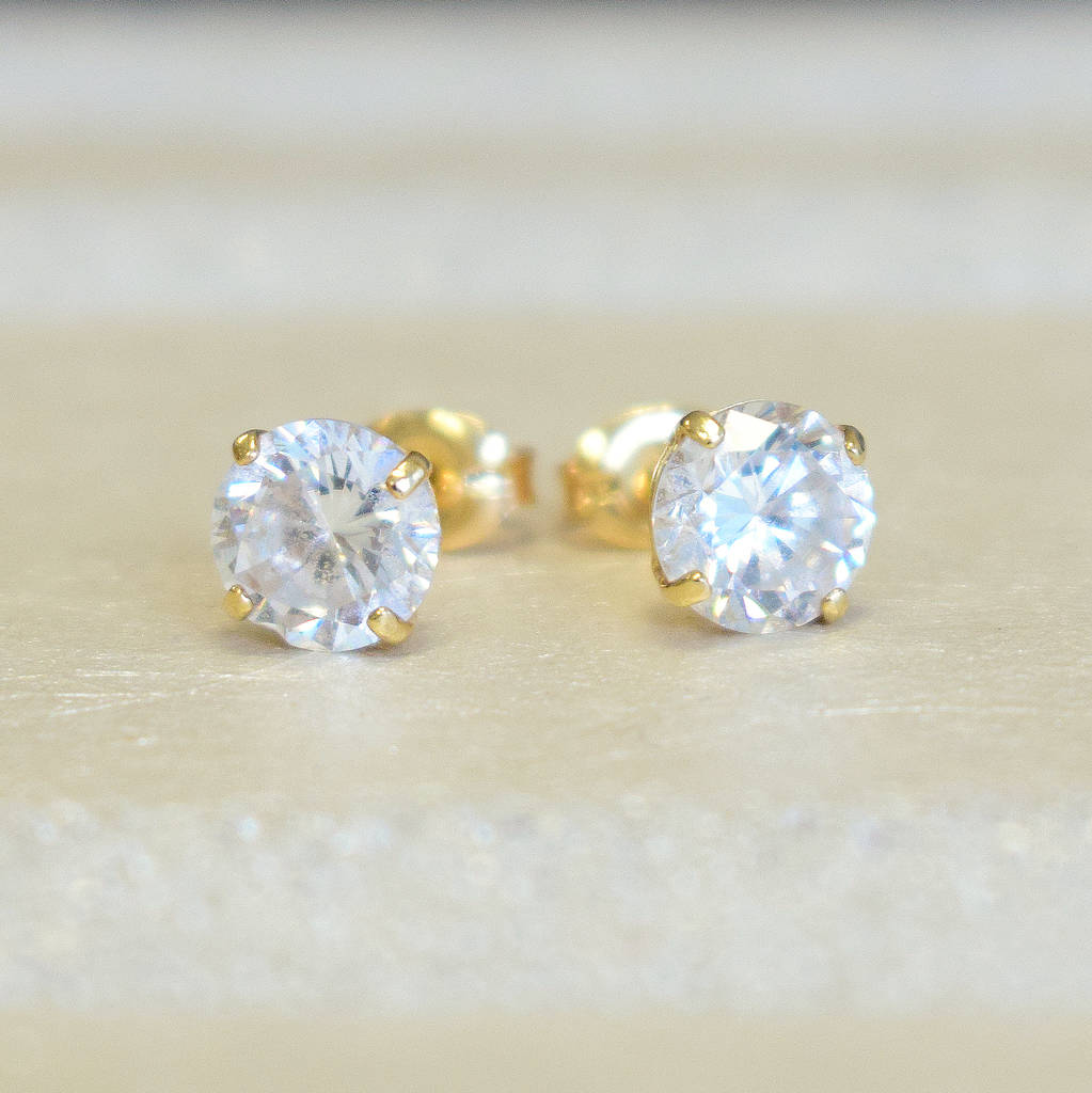 white earrings cubic with gold stud zirconia in