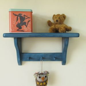Children's Wall Shelf With Wooden Pegs - hooks, pegs & clips