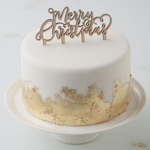Festive Wooden Merry Christmas Cake Topper - decoration