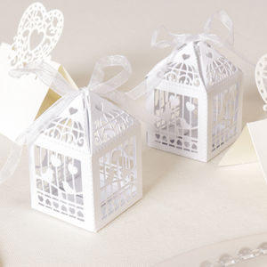 Pack Of 10 White Birdcage Favour Boxes - summer sale