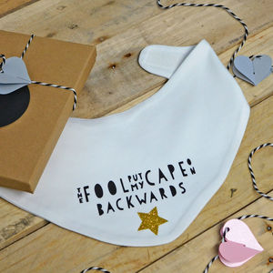 Cape Backwards Superhero Baby Bib - new baby gifts
