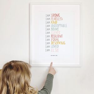 Personalised 'I Am' Strong Children's Affirmation Print
