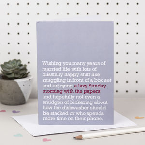 'A Lazy Sunday Morning With The Papers' Wedding Card - wedding cards