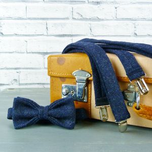 Twill Tweed Bow Tie And Braces - belts