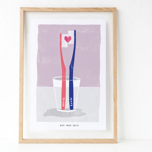 Personalised Couples Toothbrush Print