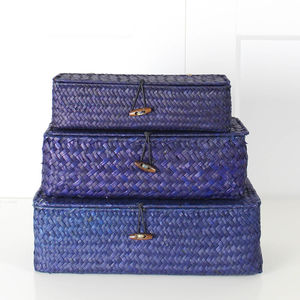 Santorini Blue Storage Boxes - sewing boxes