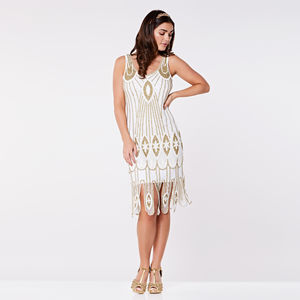 Molly Art Deco Hand Embellished Dress In White