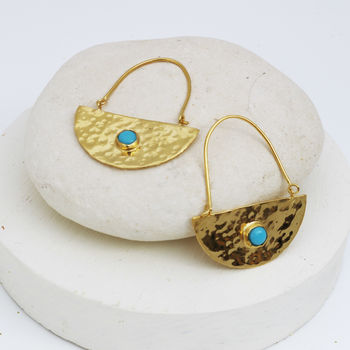 Gold Semi Circle Boho Earrings With Turquoise