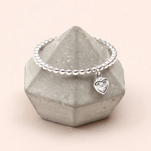 Sterling Silver Crystal Heart Charm Ring - rings
