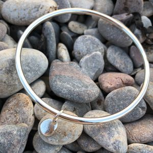 Sterling Silver Bangle With Silver Pebble Charm