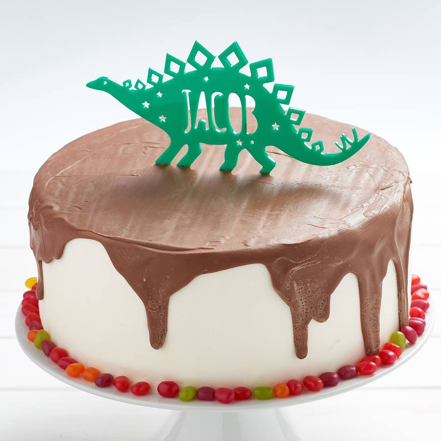 Personalised Stegosaurus Dinosaur Birthday Cake Topper By Owl