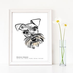Personalised Schnauzer Art Print - animals & wildlife