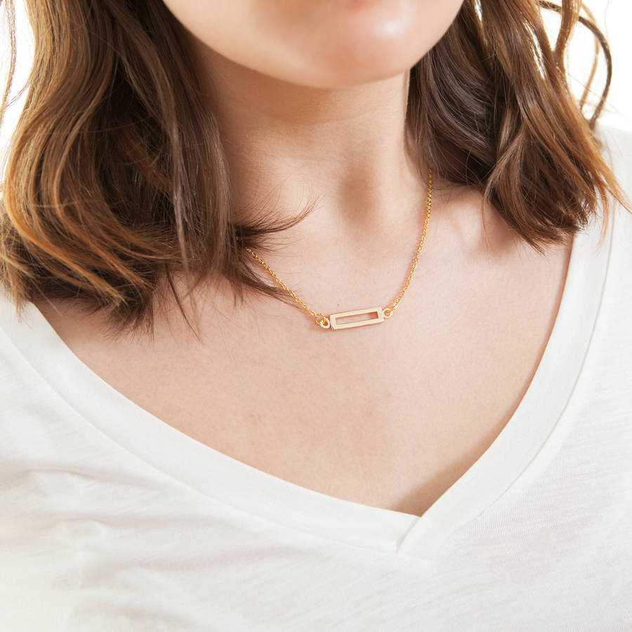 gold kk rectangle triple necklace filled long kkaydesigns product