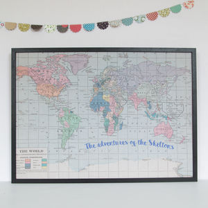 Personalised Printed Quote World Map Noticeboard - textile art