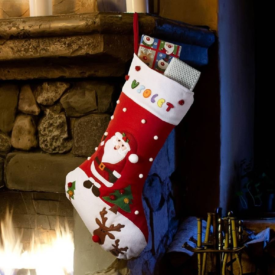 Gt babyfish gt personalised large santa and rudolph christmas stocking
