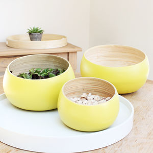 Yellow Coiled Bamboo Serving Bowls Set - kitchen