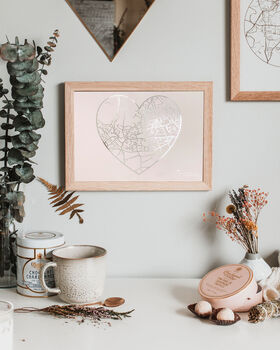 Personalised Heart Map Print Gift For Her