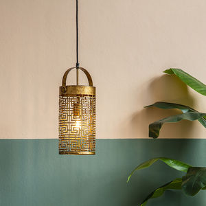 Antique Gold Cut Out Pendant Light - ceiling lights