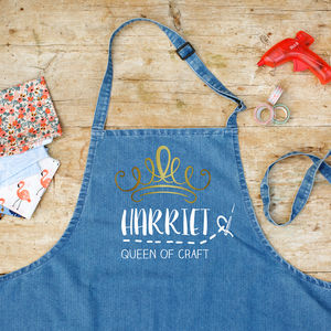 Personalised Craft Queen Denim Apron