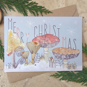 Merry Christmas Toadstool Card - winter sale