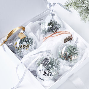 Personalised Snow Christmas Tree Bauble - christmas decorations
