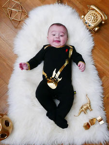 Cool Black And Gold Guitar Sleepsuit - clothing