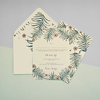 Fern And Flower Invitation Set